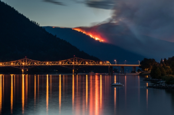 Fires burn near Kelowna, BC, July 5, 2015.  Photo by Michael Dill.
