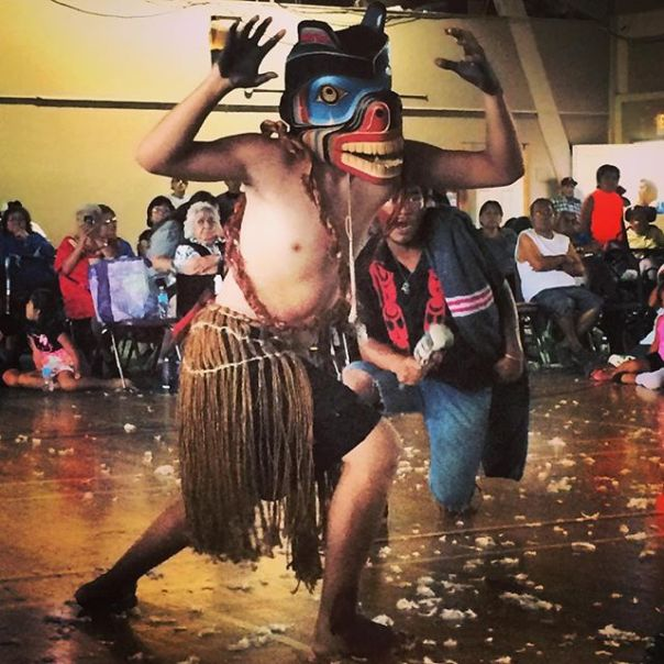 A Grizzly Bear dancer performs during Potlach marking Haida and Heiltsuk peace treaty.  Photo by serenahavana via Instragram.