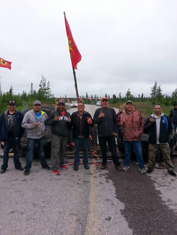 Innu blockade Hydro-Quebec construction near Natashquan, July 15, 2015.
