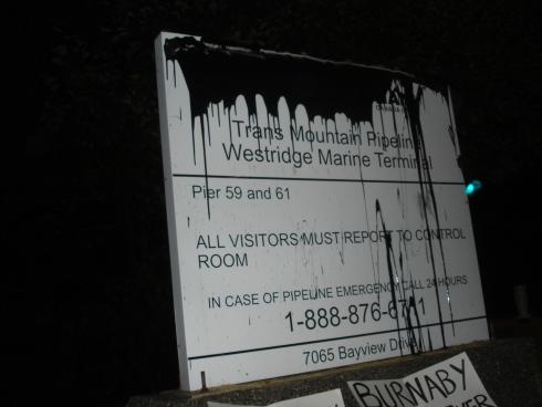 Kinder Morgan sign vandal 1