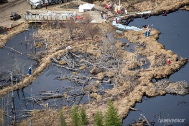 Oil spill from Nexen Energy pipeline in northern Alberta tar sands, July 16, 2015.