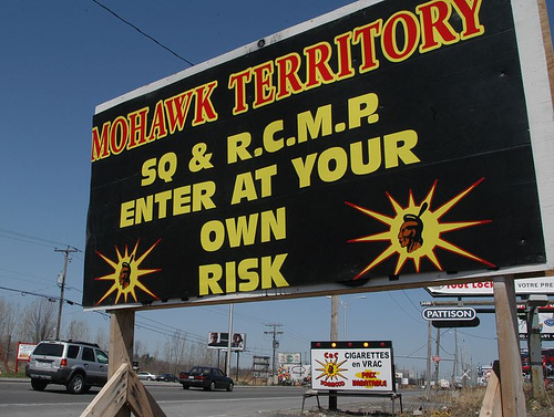 Sign at entrance to Kahnawake.