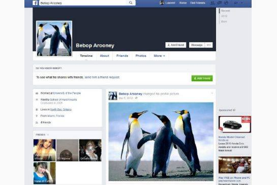 "The fake RCMP Facebook account of ""Bebop Aroonie."""