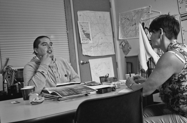 Chief Nathan Parenteau and band councillor Lana Garbitt discuss the Impact Benefits Agreement with the Alaska Highway News at their band office on the Saultau reserve near Moberly Lake | Photo: Mike Carter