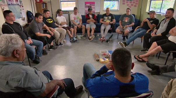 Healing circle. In the past year, Warriors Against Violence saw over 400 clients. Some are ordered by court to attend; most come voluntarily. (CBC)