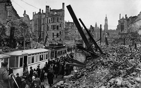 Aftermath of Allied bombing in the German city of Dresden, February 1945.