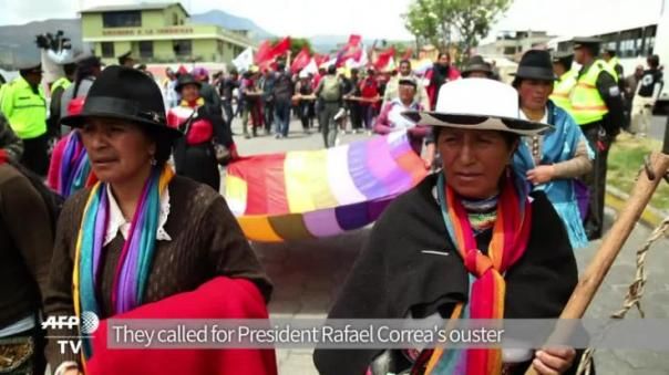 Hundreds of Ecuador's indigenous people are marching from an Amazon province towards the capital in protest against President Rafael Correa, joining mounting anti-government dissent.