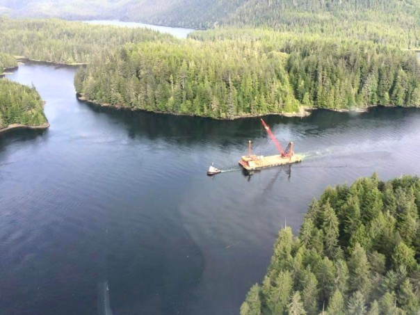 A barge carrying equipment related to investigatory work for Petronas' proposed Lelu Island LNG plant. Photo: Common Sense Canadian.com