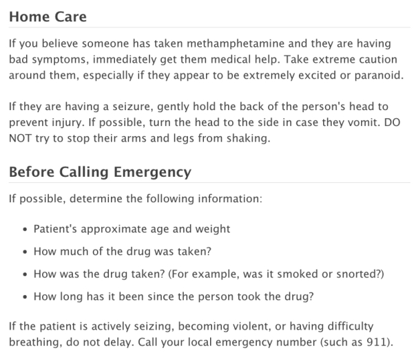 Methamphetamine emergency care