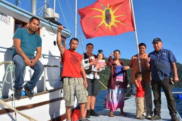 Warriors for Yaakswiis during blockade of fish farm near Ahousaht, Sept 2015.