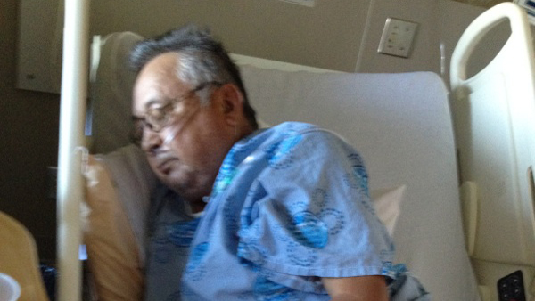 Antoine Delormier, 67, in his hospital bed in Cornwall Thursday. Photo courtesy of family via APTN.
