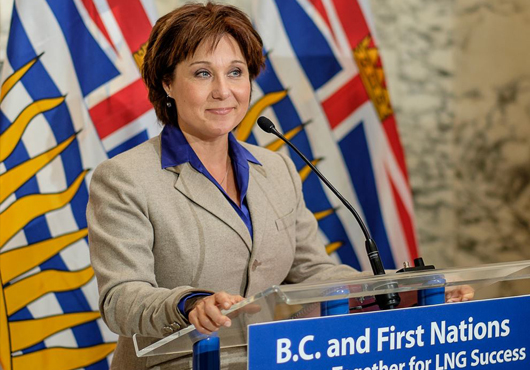 BC premier Christy Clark speaking at a liquified natural gas promotional event.