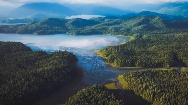 An aerial view of Clayoquot Sound, just north of Tofino, B.C., is shown this a handout photo. The Ahousaht First Nation are protesting an open-net salmon farm in the area. (THE CANADIAN PRESS/HO-Destination BC)