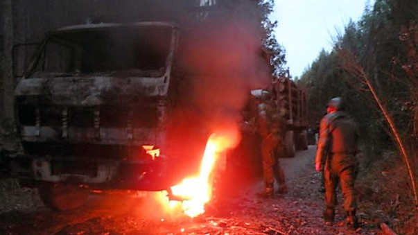 Chilean police attempt to extinguish fire on logging truck, September 2015.