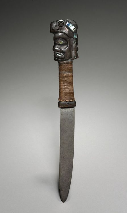 "Fighting Knife Dated: late 1800s-early 1900s Culture: Tlingit (""People of the Tides""), Northwest Coast of America Medium: steel, leather, cord, and horn inlaid with abalone shell. Pinterest"