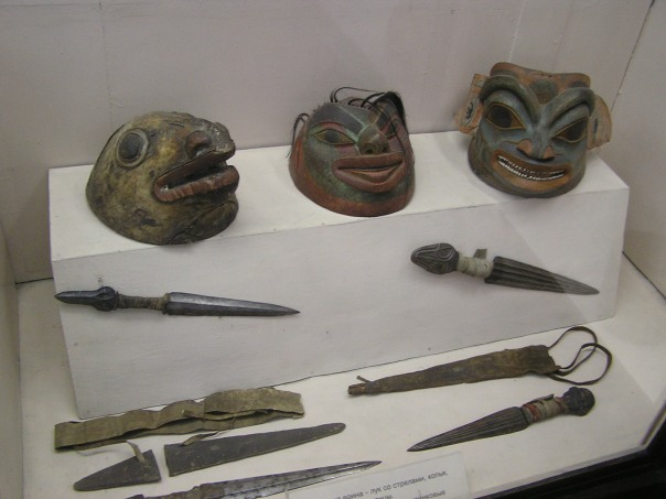 Tinglit carved wooden helmets and copper daggers from Alaska, either late 18th century or early 19th century, St Petersburg museum, Russia.
