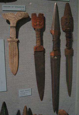 Tlingit daggers, the one on the left is made fro bone. American Museum of Natural History.