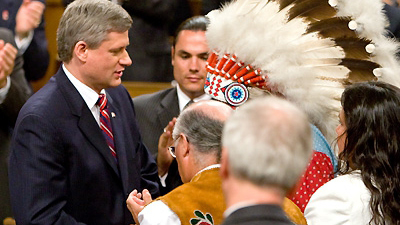 Prime Minister Stephen Harper after delivering apology to Indian residential school survivors on June 11, 2008. PMO photo (via APTN).