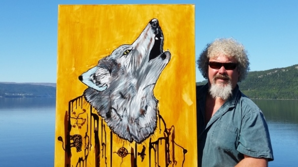 Artist Ronnie Rowsell painted a Newfoundland wolf using oil that leaked into the waters near Shoal Point in Port au Port Bay. (Submitted by Ronnie Rowsell)