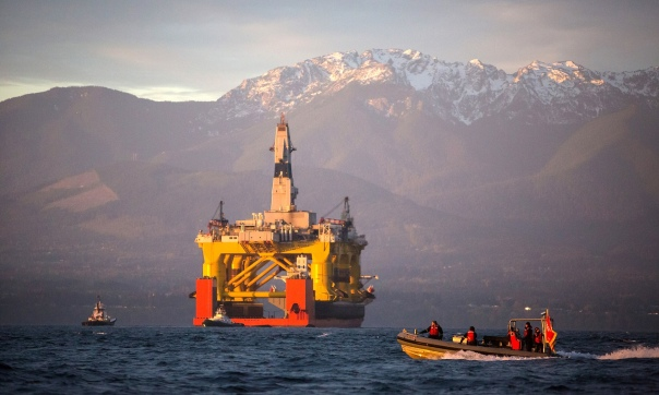 The Transocean Polar Pioneer, a semi-submersible drilling unit leased by Shell, was used to explore Arctic deposits. Photograph: Daniella Beccaria/AP