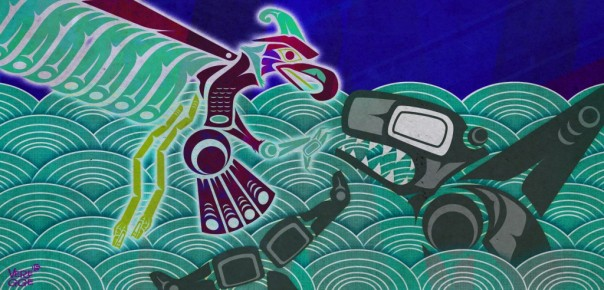 Thunderbird and Whale had a terrible fight. Illustration by Jeffrey Veregge (Haika Magazine)