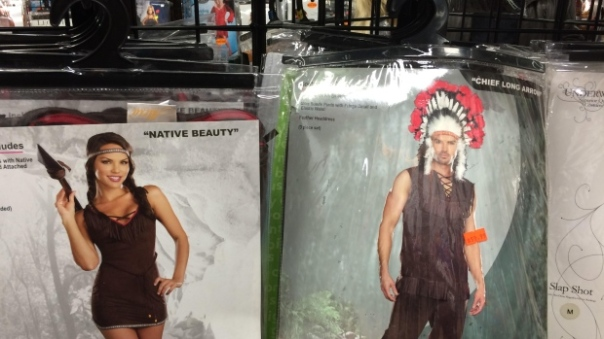 Jeffrey McNeil-Seymour found 'Native Beauty' and 'Chief Long Arrow' costumes for sale at Halloween Alley in Kamloops, B.C. He complained to the store and posted photos to Facebook. (Jeffrey McNeil-Seymour )