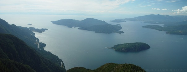 Aerial view of Howe Sound, site of proposed Woodfibre LNG facility.
