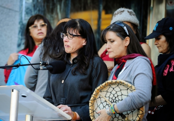 Many turned out to pay respect with the Aboriginal community holding a Sisters in Spirit Vigil to honour the lives of missing and murdered Aboriginal women and girls outside of City Hall in Vancouver on October 4, 2015 . Andrea Reimer, Deputy Mayor of Vancouver breaks down in tears during her speech. Photograph by: Mark van Manen , PNG