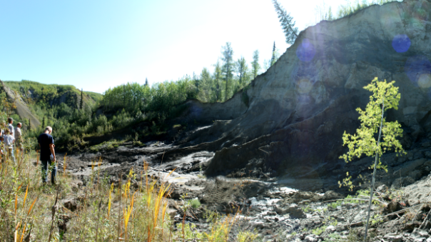 A landslide in B.C.'s Peace region is fuelling fears and blame around fracking. (Betsy Trumpener/CBC)