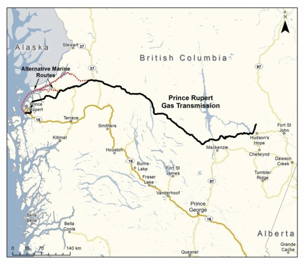 Prince Rupert Gas Transmission (PRGT) pipeline map.  Company image.