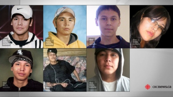 The seven students who have died in Thunder Bay since 2000 are, from top left, Jethro Anderson, 15, Curran Strang, 18, Paul Panacheese, 17, Robyn Harper, 18, Reggie Bushie, 15, Kyle Morriseau, 17, and Jordan Wabasse, 15. (CBC)