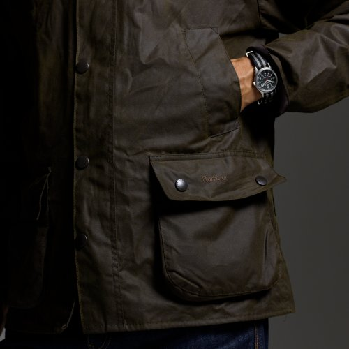 A waxed cotton jacket made by Barbour; notice the waxy,