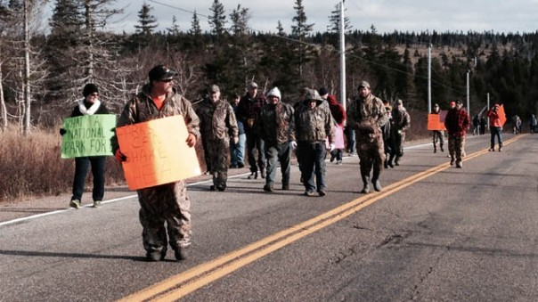 Protest against Mi'kmaq moose hunt. Photo: APTN National News