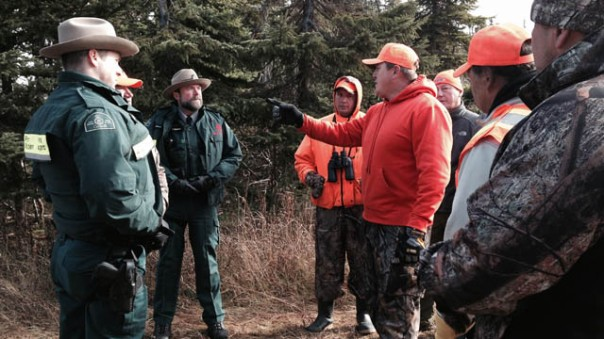 Non-Native hunters confront game wardens during protest against Mi'kmaq moose hunt in park. Photo: APTN National News.
