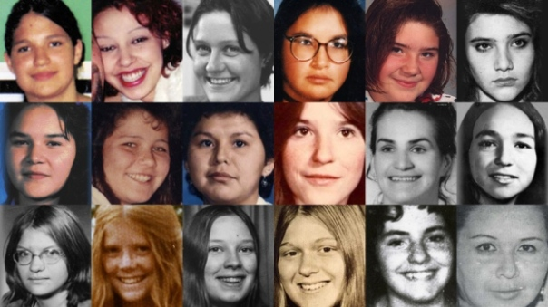 These images are of 18 women and girls who were either found or last seen near Highway 16 or near Highways 97 and 5. From left to right: (Top row) Aielah Saric Auger, Tamara Chipman, Nicole Hoar, Lana Derrick, Alishia Germaine, Roxanne Thiara; (Middle) Ramona Wilson, Delphine Nikal, Alberta Williams, Shelley-Anne Bascu, Maureen Mosie, Monica Jack; (Bottom row) Monica Ignas, Colleen MacMillen, Pamela Darlington, Gale Weys, Micheline Pare, Gloria Moody. (Individual photos from Highwayoftears.ca)????????????????????????????????????????????????????????????????????????????????????????????????????????????????????????????????????????????????????????????????????????????????????????????????????