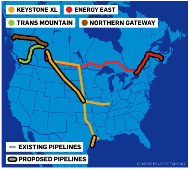 Pipelines tar sands map