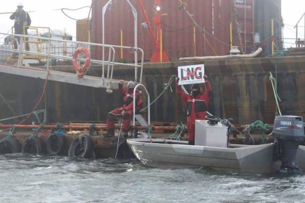 Lelu Island boats protest