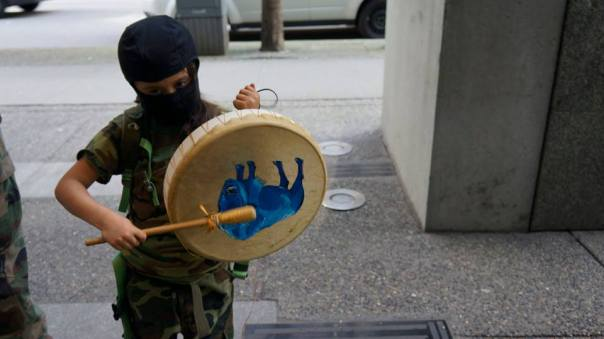 INAC occupation vancouver mask drum