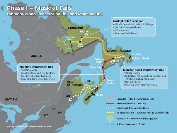 Muskrat Falls dam map