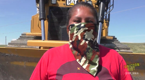 Dakota Access Pipeline warrior bulldozer