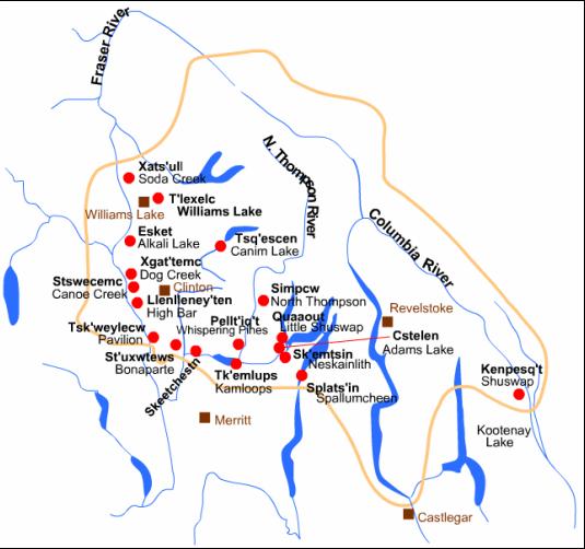 Secwepemc territory map