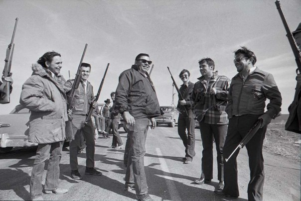 Tribal chairman Dick Wilson, center, with his goon squad at Wounded Knee.