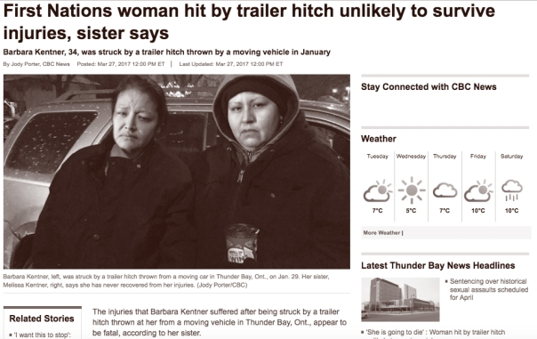 Thunder Bay trailer hitch victim