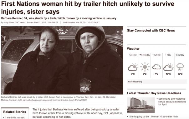 Thunder Bay trailer hitch victim