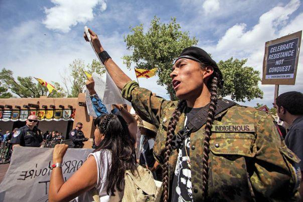 Santa Fe Entrada protest 3