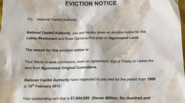 Australia tent embassy eviction notice