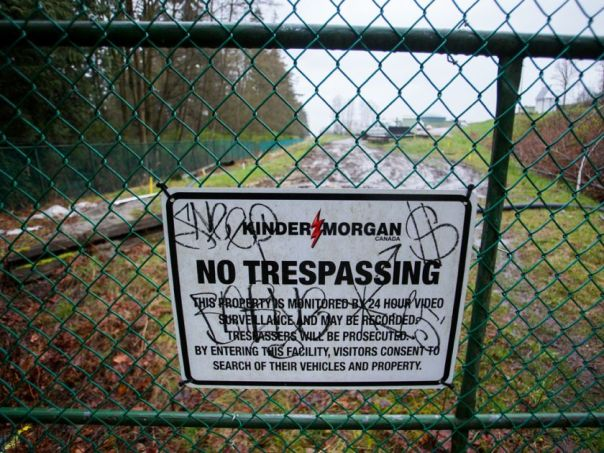 Kinder Morgan sign graffiti